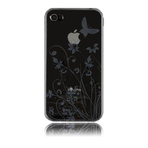 deinPhone - iPhone 4 4S Case Schutzhülle Schutz Handy Hülle Bumper Tasche Etui Schale Soft Case Flower in Schwarz Grau