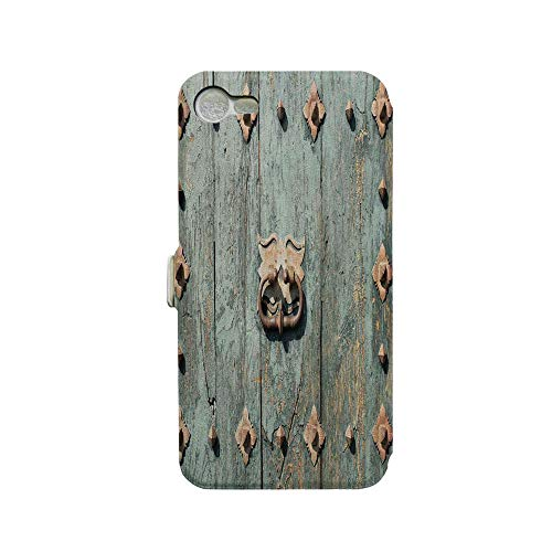 (Phone case Compatible with iPhone 7 iPhone 8 3D Printed PU Skin Cover Protection Sleeve,Rusty Old Door Knocker Gothic Medieval Times,Premium PU Leather Magnetic Flip Folio Protective iPhone case)
