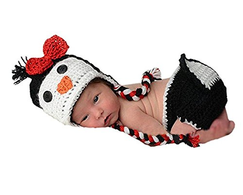 Eyourhappy Baby Newborn Handmade Crochet Knitted Photography Props Penguin Hat Pants Outfit