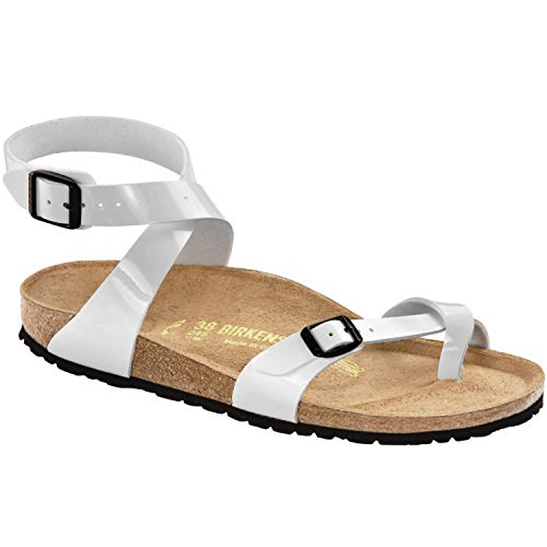 87503d626eb New Birkenstock Yara Bright White Patent Birko-Flor 38 7-7.5 R Womens  Sandals