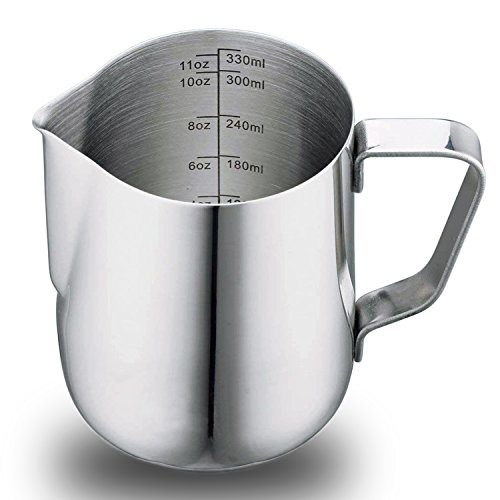 6 Oz Stainless Steel Milk Frothing Pitcher Cup, Measuring Scales for Espresso Cappuccino Milk Coffee Latte (350ml 1 Pack) by Pruk