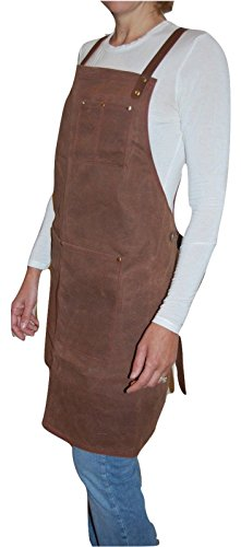 Craftsmans Guild Waxed Canvas Heavy Duty Apron Leather Straps Utility Tool BBQ Cooking Chefs Cooks Shop Woodworking for Men & Women by Craftsmans Guild (Image #5)