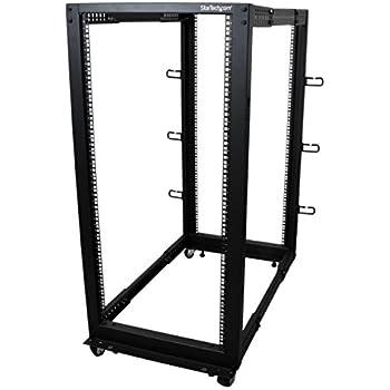 StarTech.com 4POSTRACK25U 25U Adjustable Depth Open Frame 4 Post Server Rack Cabinet - w/Casters/Levelers and Cable Management Hooks
