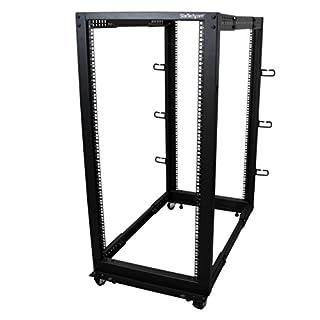 StarTech.com 25U Open Frame Server Rack - Adjustable Depth - 4-Post Data Rack - w/Casters/Levelers/Cable Management Hooks (4POSTRACK25U) (B00O6GNLQE)   Amazon Products