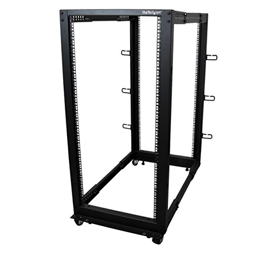 StarTech.com 25U Open Frame Server Rack - Adjustable Depth - 4-Post Data Rack - w/Casters/Levelers/Cable Management Hooks (4POSTRACK25U) (Computer Rack Server)