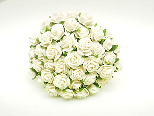 Tyga_Thai Brand 50 pcs. White Color Rose Mulberry Paper Flower Craft Handmade Wedding 10 mm. Scrapbook for so Many Card & Craft Projects CMR1-4#152 (MULBERRY-PAPAER-ROSE-10MM)