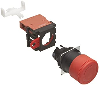 Omron A22E-S-01 Emergency Stop Operation Unit and Switch, Screw Terminal, IP65 Oil-Resistant, Non-Lighted, Push-Lock Turn-Reset Operation, Red, 30mm Diameter, Single Pole Single Throw Normally Closed Contacts
