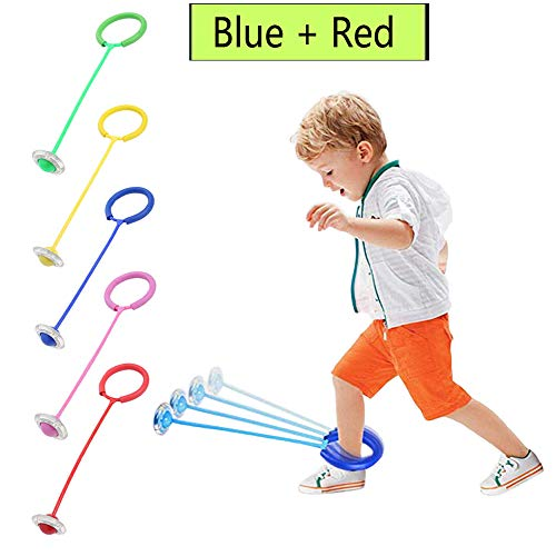 Chelseabyt Flashing Skip Jumping Ring Colored Ankle Ball Jump Ropes Sports Swing Ball Toy for Kids Boys Girls (Blue + Red)