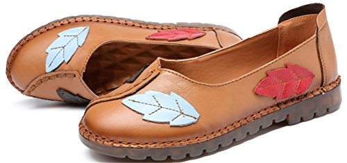 Satuki Handgemaakte Loafer Schoenen Voor Vrouwen, Lederen Slip Op Casual Lage Hak Pastorale Floral Zachte Schoenen Oranje