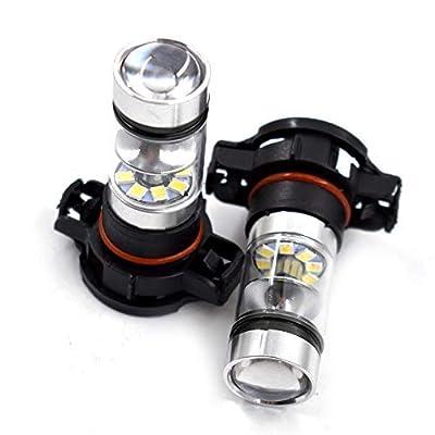 2X 5202 H16 PS24W High Power 100W 6000K Super White LED Fog DRL Lights Bulb Fit For 07-15 Chevrolet Silverado 1500 2500 3500: Automotive