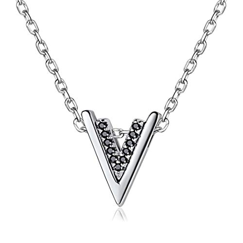 Initial V Fashion Pendant Necklace Featuring Black Cubic Zircon in Platinum Plated Silver Letter V Necklace for Women Girl 16'' (Necklace Zirconia Fashion Cubic 16')