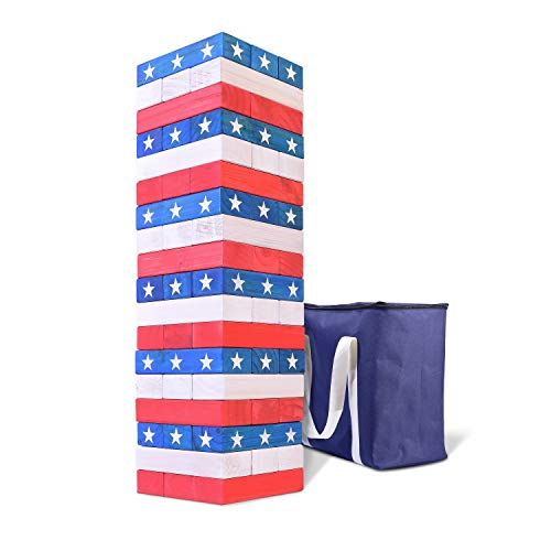 Jumbo Stack - GoSports Giant Stackin' Stars and Stripes (Stacks to 5+ feet) | Made from Premium Pine Blocks
