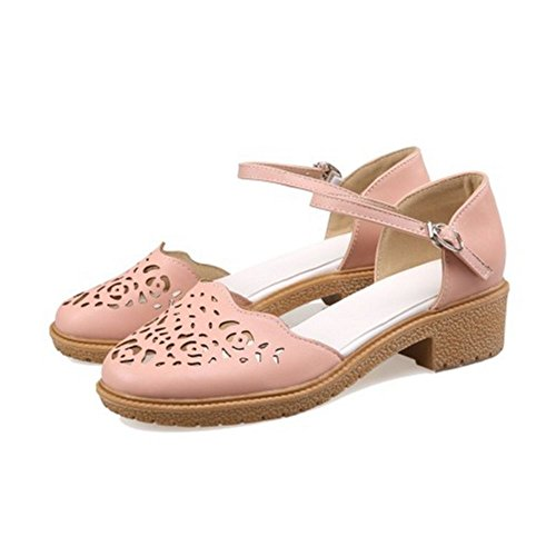 Heel LongFengMa Women Low Classic Square Shoes Heelded Pink Sandals 66UwOqfn