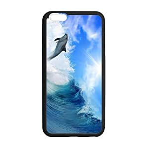 iPhone 6 Plus Case, Lovely Dolphin Surfing On Sea TPU Frame & PC Hard Back Protective Cover Bumper Case for iPhone 6 Plus 5.5 Inch On 2014 by Maris's Diary