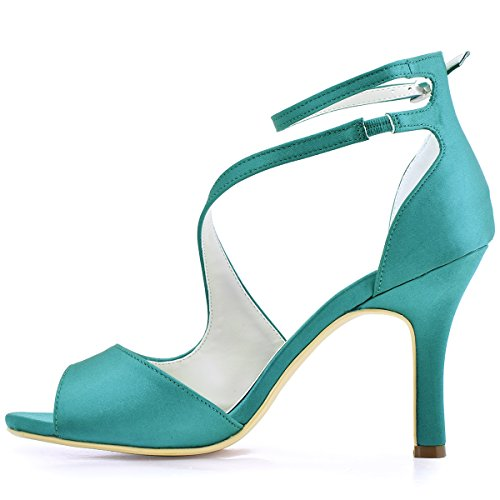 Ankle Heel Shoes Sandal Party Women's Eveing Buckle High Toe Elegantpark Satin Teal HP1505 Open Rhinestones XqxOSg