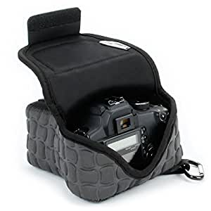 DSLR Camera Case / SLR Camera Sleeve FlexARMOR X w/Deluxe Padded Neoprene Protection, Caribiner Clip & Accessory Storage by USA Gear - Works With Nikon D3400 / Canon EOS Rebel SL2 / Pentax K-70 & More
