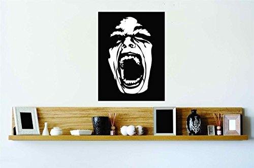 Top Selling Decals - Prices Reduced : Wide Open Mouth Horror Screaming Face Vinyl Wall Peel & Stick Sticker Home Halloween Party Decoration Kids Boy Girl Teen Dorm Room Children - 22 Colors Available 26x20