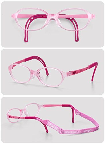Eyeglass Frames for Kids, TKAC14-40, Pink Color, Light Weight, Comfortable Material, Highly Durable, Flexible, with Adjustable Nose Pad & Ear Tip, Shape intelligence and - Com Www Frames Eyeglasses