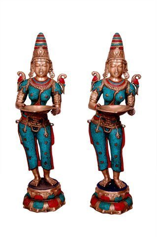 (Idol Collections Brass Statue Welcome Or Decorative Lady (12''X14''X44'') Deep Lady Multi Colour Beautiful Showpieces)