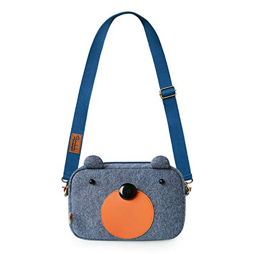 In Knitted Saoga Coreana Tracolla Satchel Bear Per Coffee Blue Flower A Tricolore Bag Gray Rectangular Versione Tela Studenti Borsa q44vrt
