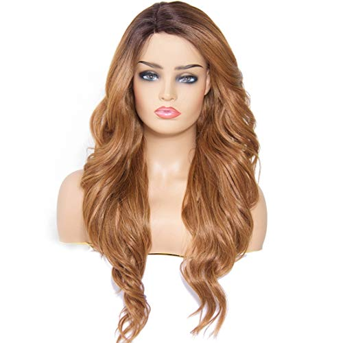 Ombre Strawberry Blonde Synthetic Wig Long Wavy - Longqi Natural Looking Body Wave Wavy Right Side Parting Heat Resistant None Lace Glueless Fiber Wig 2 Tone Color Dark Roots (1B/27, 26 Inches) ()