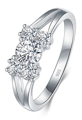 BORUO 925 Sterling Silver Ring, Cubic Zirconia CZ Diamond Eternity Engagement Wedding Band Ring