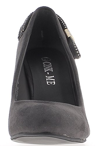 ChaussMoi Grey Heel Heels 9 cm Look Suede and Strass Iq8mXWltF