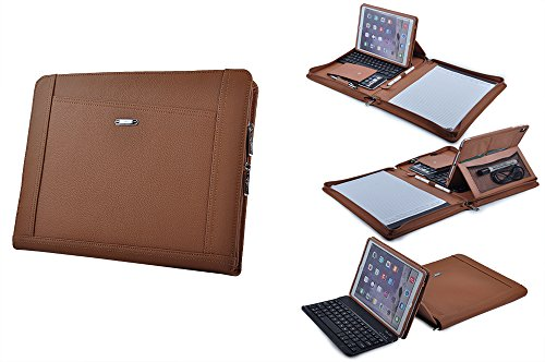 iPad Keyboard Portfolio, Executive Leather Padfolio Case with Bluetooth Keyboard for 9.7 inch iPad Pro,Brown by iCarryAlls