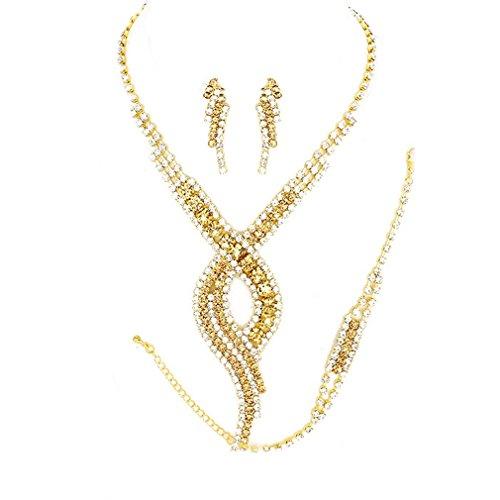 Uniklook Topaz Swirl Rhinestone Gold Bracelet Necklace Jewelry Studs Earrings Set Prom Pageant Bridal