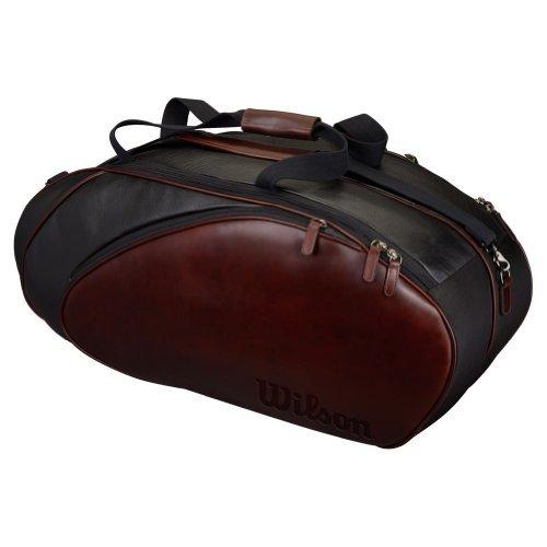 Wilson Premium Leather 6 Pack Tennis Bag (Black/Brown) by Wilson