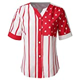 Answerl☀ Women's Merica American Flag Baseball Printed T Shirt 4th of July Patriotic Shirts Casual Loose Tee Tops Pullover Red