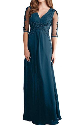 Blaugruen Ballkleid Chiffon Spitze Abendkleider Lang Partykleider Ivydressing Damen Festkleid Arm Elegant qPBBZT