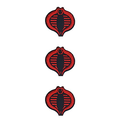 Application Cartoon Classic G.I. Joe Cobra Commander Logo Cosplay Badge Embroidered Iron or Sewn-On Applique Patch 3-Pack Gift Set -