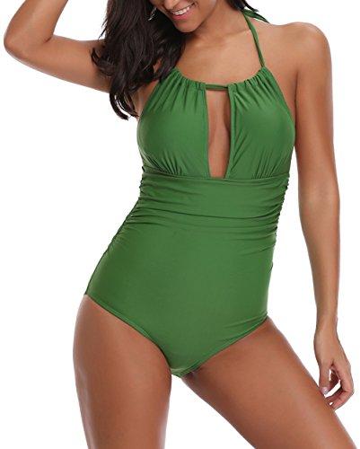 Eomenie Women's One Piece Swimsuits Bathing Suits for Women Tummy Control Swimwear Deep V Neck Sexy Monokini