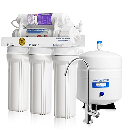APEC Top Tier Supreme Certified Alkaline Mineral pH+ High Flow 90 GPD 6-Stage Ultra Safe Reverse Osmosis Drinking Water Filter System (ULTIMATE RO-PH90) by APEC Water Systems
