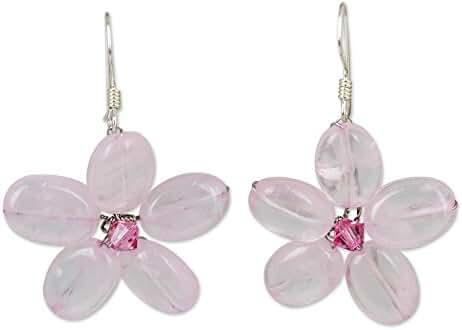 NOVICA Rose Quartz .925 Sterling Silver Beaded Earrings 'Mystic Daisy'