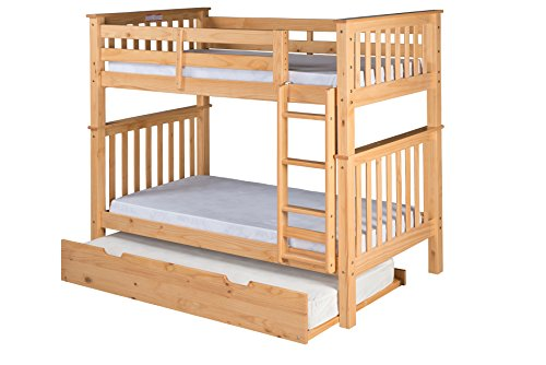 Santa Fe Ladder - Camaflexi Santa Fe Mission Tall Bunk Bed Attached Ladder with Under Bed Trundle, Twin over Twin, Natural