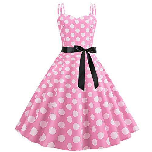 Mikilon Strap Sleeveless Polka Dots Vintage Swing Mini Tea Dress with Belt Pink