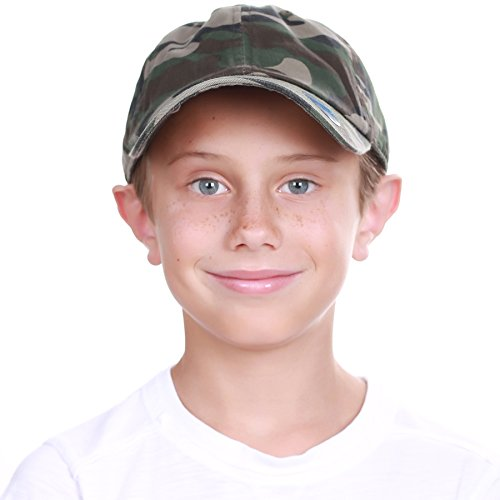 KBC-13LOW CAM (6-9) Kids Boys Girls Hats Washed Low Profile Cotton and Denim Plain Baseball Cap Hat Unisex Headwear