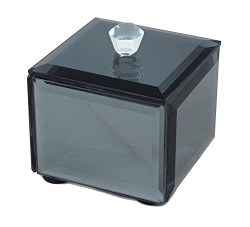 Two's Company Beveled Mirror Covered Smoke-colored Jewelry Box - Covered Jewelry Box