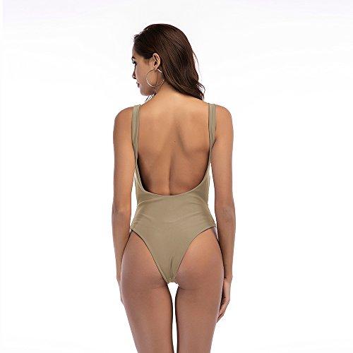YFZYT Off-Shoulder de Color Sólido para Mujer/Double Shoulder Traje de Baño de una Pieza Traje de Baño Tummy Control Traje de Baño Monokini con Escote en V ...