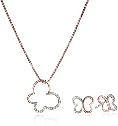 Two-Tone Sterling Silver and 18k Rose Gold Over Silver Diamond Accent Butterfly Pendant Necklace and Earrings Jewelry (Diamond Accent Jewelry Set)