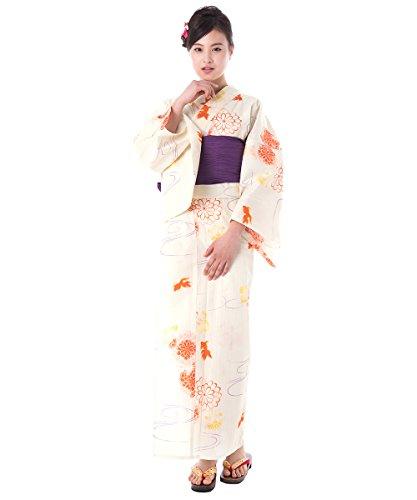 KYOETSU Women's Elegance Yukata 3 Piece Set (Yukata/Obi/Geta sandals) (Medium (Japan Size BL), FM-11(Obi Grape)) by KYOETSU