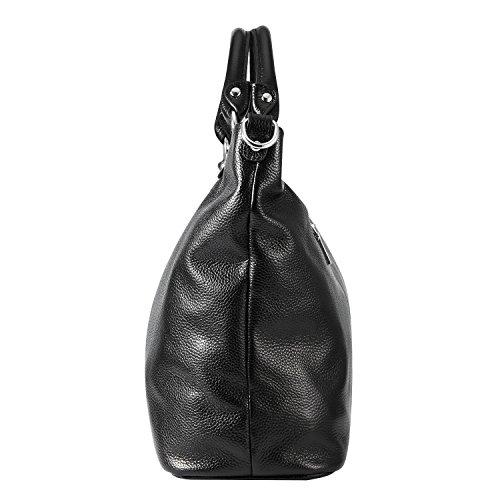 Kattee Damen Weich Leder 3-Wege Satchel Tasche Tote Handtasche Schwarz Schwarz