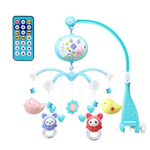 Toyvian Baby Musical Crib Mobile Infant Rattles Nursery Bed Bell Toys with Hanging Rotating Cute Animals Projection Toys Remote Control Arm Bracket (Blue)