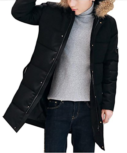 Puffer amp;S M Men's Padded amp;W Collar Down Coats Thick Warm Black Fur 8dqxBd6w