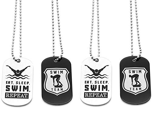 (12-Pack) Swimming Diving Swim Team Dog Tag Necklaces - Wholesale Bulk Pack of 1 Dozen Necklaces - Party Favors Gifts Uniform Supplies for Competitive Swimmers Swim Dive Team Members