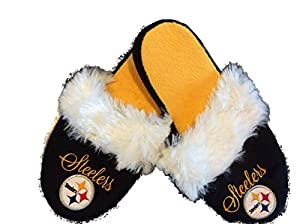 Pittsburgh Steelers Women's Colorblock Fur Slide Slipper (Medium) at Steeler Mania