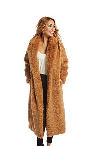 Women Faux Fur Winter Coats Comfort Warm Outerwear Open Front Long Cardigan Overcoat Jacket M