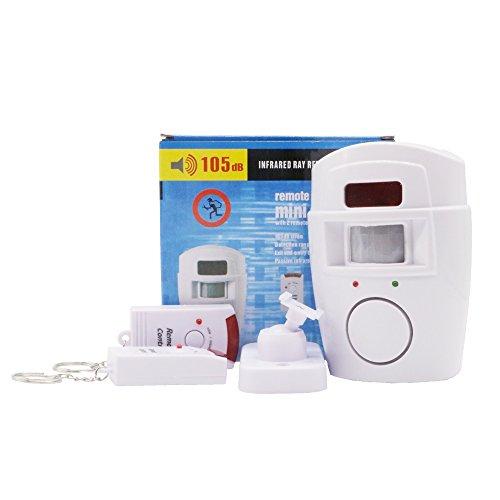Sensor de movimiento inalámbrico, con alarma, 2 mandos a distancia, Prevención de la delincuencia, para puerta delantera/trasera garaje cobertizo, ...